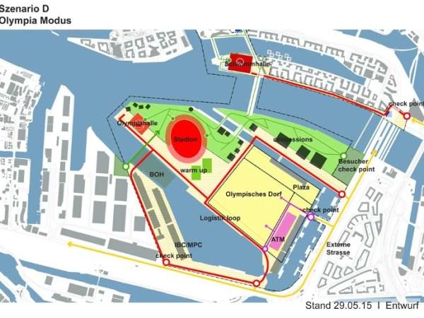 Plan du quartier de Kleiner Grasbrook avec en rouge, l'OlympiaHalle / aréna pour la gymnastique et le basketball, le Stade Olympique de 70 000 places et le Schwimmhalle / Centre aquatique pour les épreuves de natation et natation synchronisée (Crédits - Ville de Hambourg)