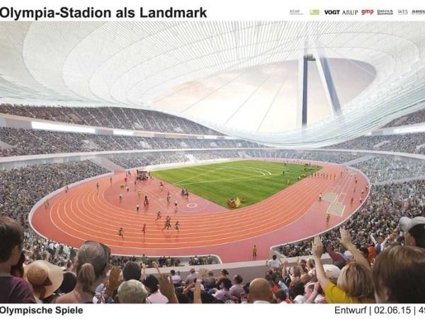 Une des esquisses du Stade Olympique de 70 000 places, avec un immense pylône porteur de la toiture (Crédits - Ville de Hambourg)