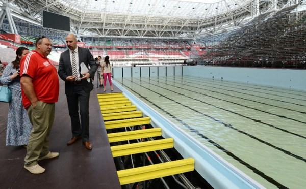 Mise en eau du bassin de l'Arena Stadium, le 25 juin 2015 (Crédits - Kazan 2015)