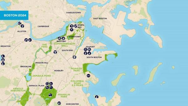 Implantation des sites olympiques dans la ville de Boston (Crédits - Boston 2024)