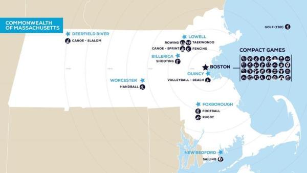 Implantation des sites dans l'État du Massachusetts (Crédits - Boston 2024)