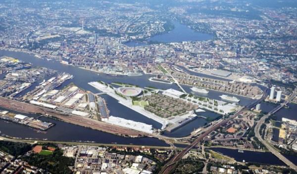 Visuel du quartier olympique de Kleiner Grasbrook au centre de Hambourg (Crédits - Hambourg 2024)