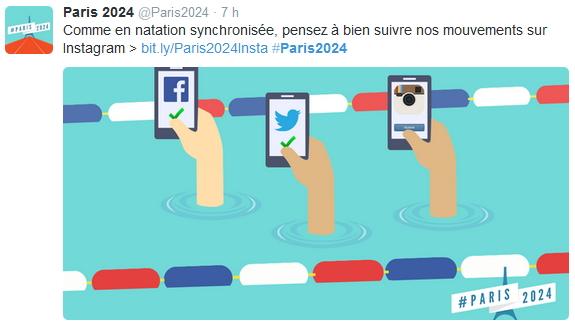 Tweet publié aujourd'hui par la candidature de Paris 2024 afin d'annoncer et de promouvoir son arrivée sur Instagram (Crédits - Capture d'écran / Sport & Société)