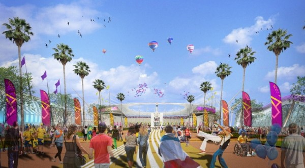 Visuel de l'esplanade et du Los Angeles Memorial Coliseum (Crédits - LA 2024)