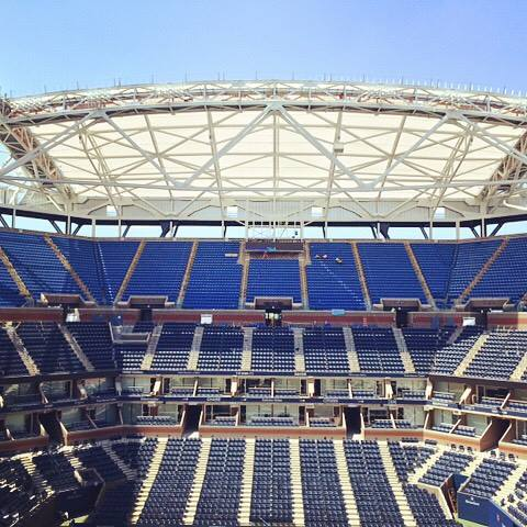 Vue de la structure fixe du toit du stade Arthur Ashe (Crédits - US Open)