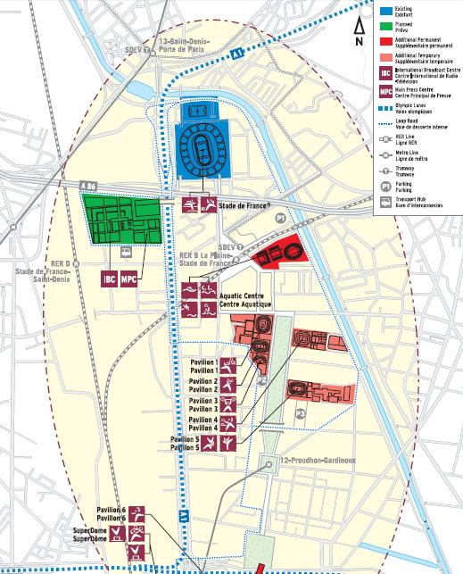 Le Centre des Médias était envisagé au sud du Stade de France, sur la commune de Saint-Denis (Crédits - Paris 2012)