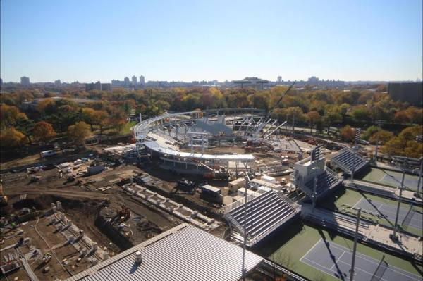 Vue des travaux du GrandStand stadium, le 04 novembre 2015 (Crédits - US Open)