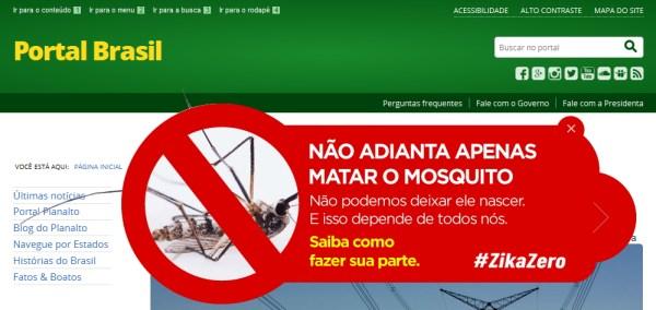 """Le portail du Gouvernement du Brésil affiche des messages de prévention : """"Cela ne suffit pas de tuer le moustique. Il ne faut pas le laisser naitre. Cela dépend de chacun d'entre nous"""" (Crédits - Capture d'écran / Sport & Société)"""