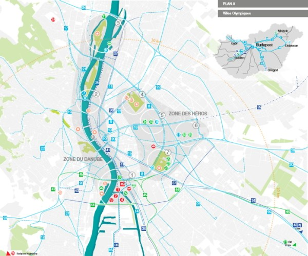 Concept de Budapest 2024, avec la localisation du Village des Athlètes dans le Noyau olympique, en bas de carte (Crédits - Budapest 2024)