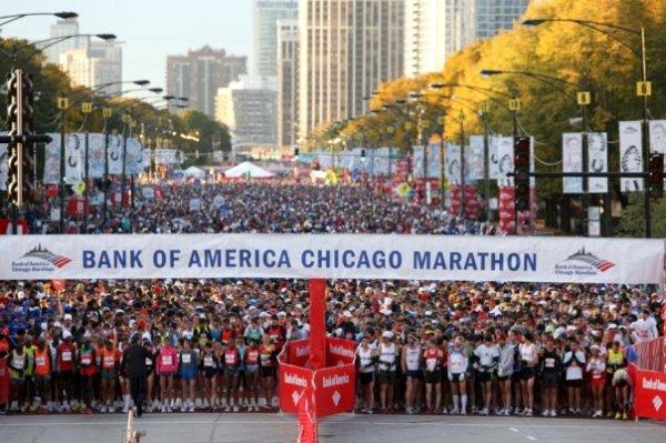 Le 11 octobre 2009, plus de 32 000 personnes avaient pris le départ du Marathon de Chicago (Crédits - Bank of America Chicago Marathon)