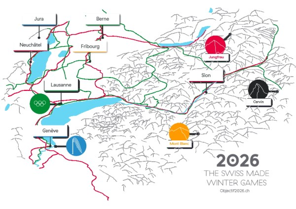 Carte de la Suisse Occidentale (Crédits - Objectif 2026)