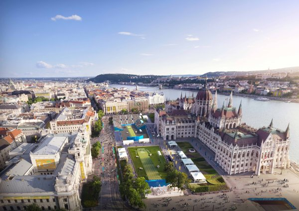 Visuel du Centre de tir-à-l'arc installé sur le parvis du Parlement de Hongrie (Crédits – Budapest 2024)