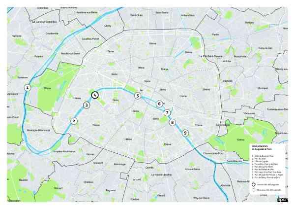 Les neufs sites de la Seine identifiés et susceptibles d'accueillir des installations de baignade (Crédits - Mairie de Paris / APUR)