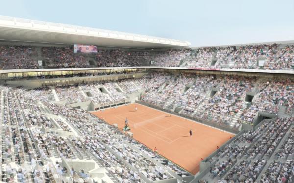 Visuel du Court Central, avec les tribunes réaménagées et surtout l'installation d'une toiture amovible légère (Crédits - FFT / 2013 Architectes : ACD Girardet et Associés / Daniel Vaniche et Associés / Perspectiviste : 3dfabrique)