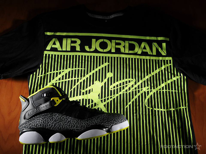 "044bb95b7a6 Style Hook: Jordan Six Rings ""Venom Green"" x Jordan Colossal Flight T-Shirt"