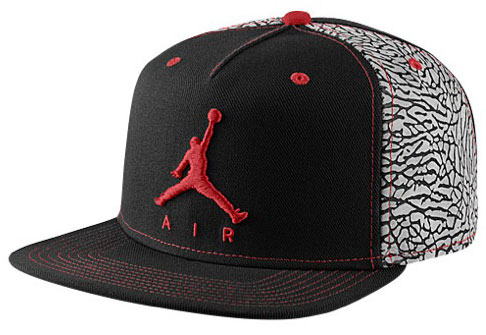 35b04beb599 Jordan Retro 3 Snapback Hat Black Gym Red