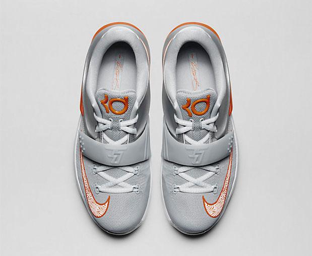 "pretty nice 17960 a63a3 Nike KD7 ""Wild West"" Kids  Shoe. Colors  Metallic Silver Wolf Grey Pure  Platinum Urban Orange"