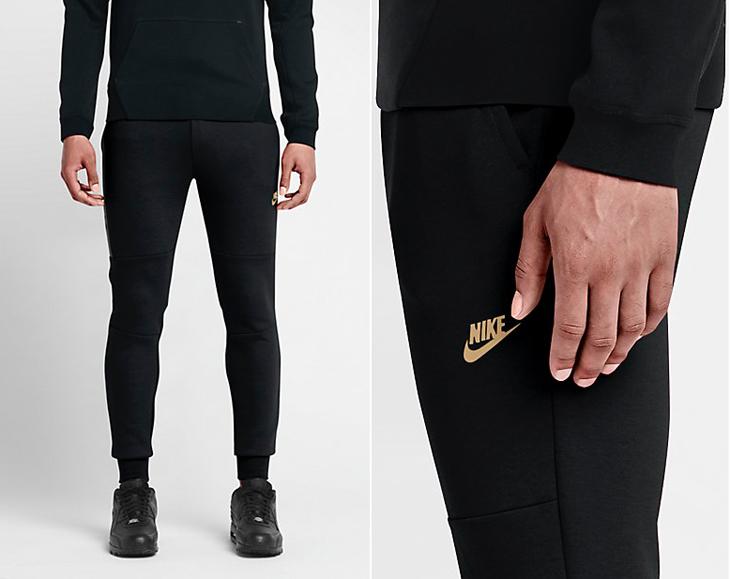 Nike Tech Fleece Pants Black Gold  d97ad6fa1477