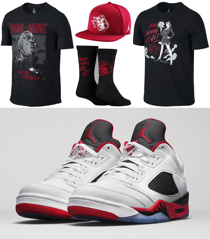 new concept 6945d 0aa39 Air Jordan 5 Low Fire Red Clothing Shirts Hats and Socks ...