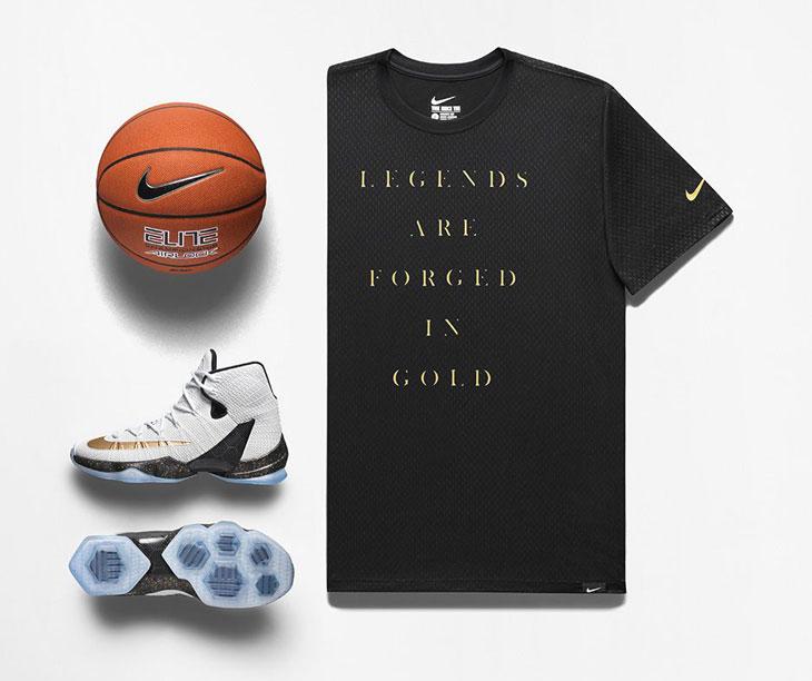 e382b23919f Nike LeBron 13 Elite Gold shirt and shoes