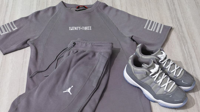 "49c6678b9fbb Air Jordan 11 Low ""Cool Grey"" + Jordan Retro 11 Wings Light Fleece Crew Top  and Matching Shorts"