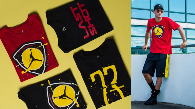 """e53f57d3cba1 Releasing alongside the Air Jordan 14 """"Last Shot"""" sneakers is this matching  clothing collection to hook with the shoes. Inspired by the kicks with  colors ..."""