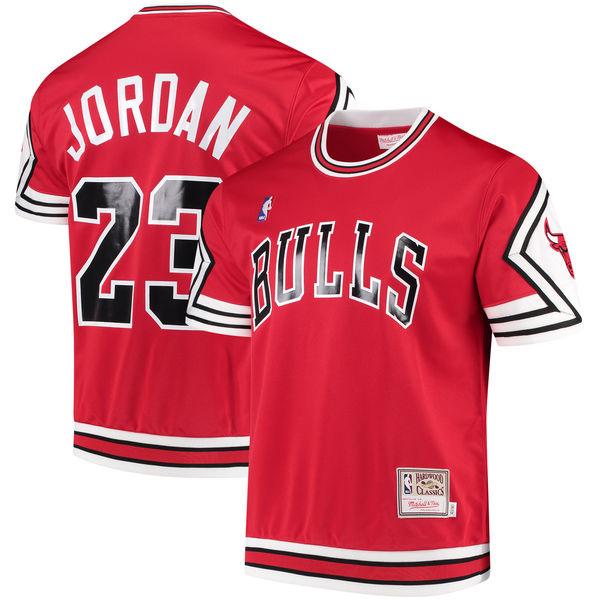 412cefa1d09 Michael Jordan Chicago Bulls Mitchell & Ness Hardwood Classics Authentic  Shooting Shirt. michael-jordan-bulls-shooting-shirt