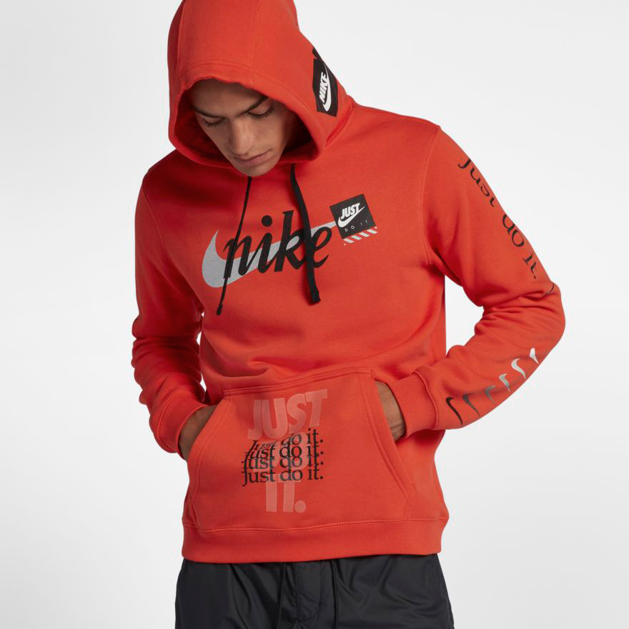 Nike JDI Just Do It Orange Off White Hoodie  