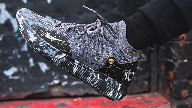 """sale retailer c2e40 733bf The Nike KD 11 """"Gold Splatter"""" Celebrates Kevin Durant s Championship Wins  with the Warriors"""