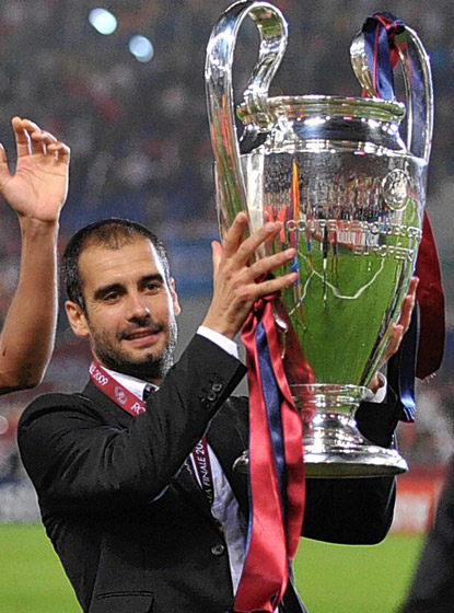 Pep Guardiola celebrando la Champions
