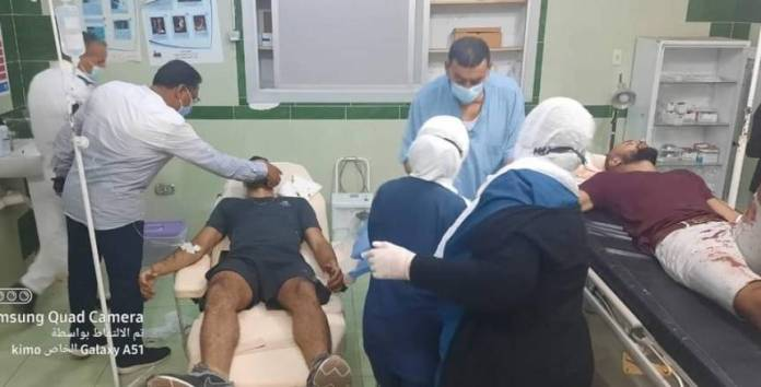 Ceramica Cleopatra player injured in a car flipped over on the Ras Ghareb road.