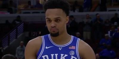 Gary Trent Jr of Duke looks on