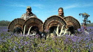 Brent Larson and Nicole Weller from Field Of Dreams TV with their Kansas gobblers!