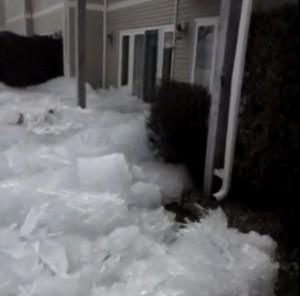 Lake ice being pushed into houses nearby