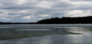 While some lakes were open, larger bodies still had ice as of Saturday.  Pictured: Potato Lake