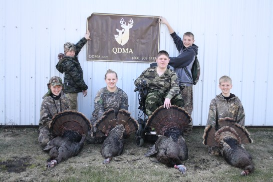 a few of the lucky hunters who participated in the Heart O' Lakes Whitetails 3rd Annual Youth Turkey Hunt