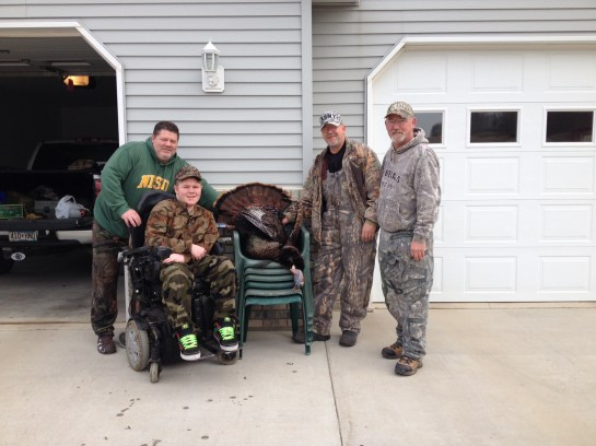 Jake Morgan with his first MN gobbler- Danny and Pete helped Jake pull off his hunt of a life time