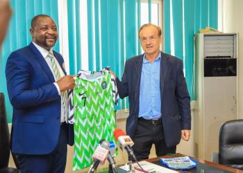 Sports minister gets Ahmed Musa's jersey for Benin victory
