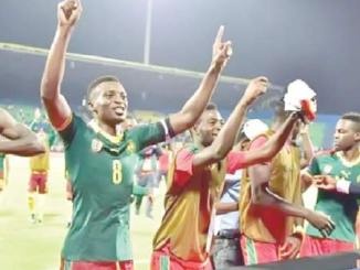 indomitable lions celebrating afcon victory