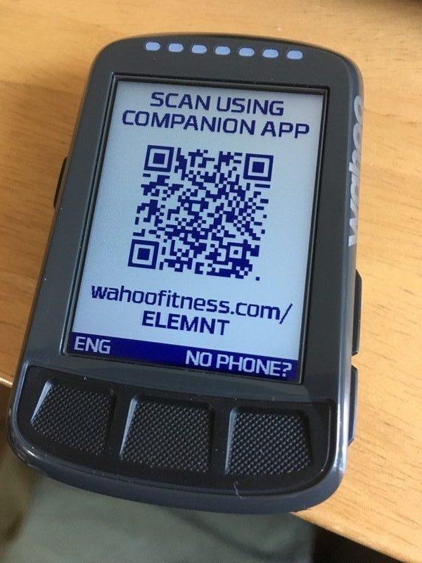 Wahoo ELEMNT BOLT set up with QR code