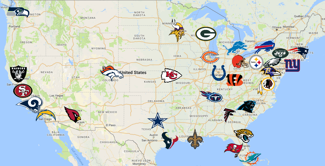 NFL | Teams | Logos - Sport League Maps : Maps of Sports ...