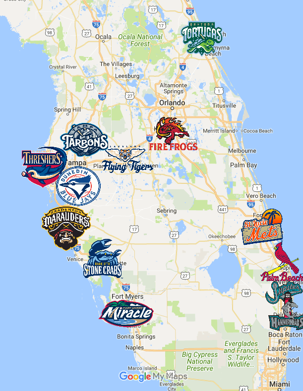 Flordia State Map.Florida State League Map Teams Logos Sport League Maps