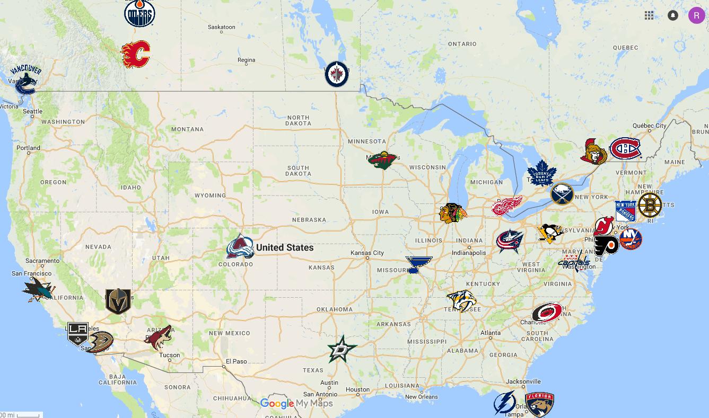 Nhl Teams Map Nhl Team Map | Bedroom 2018