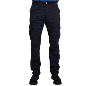 Стильные и современные мужские брюки Aigula С81095-1 карго однотонной расцветки из эластичной ткани средней плотности, декорированы двумя накладными боковыми карманами.