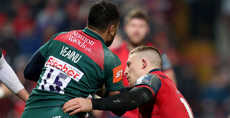 Watch: Leicester Star Breaks Jaw In Horror Collision With Munster's Andrew Conway