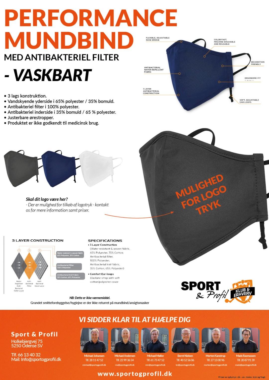 Performance vaskbart 3-lags mundbind fra Sport & Profil