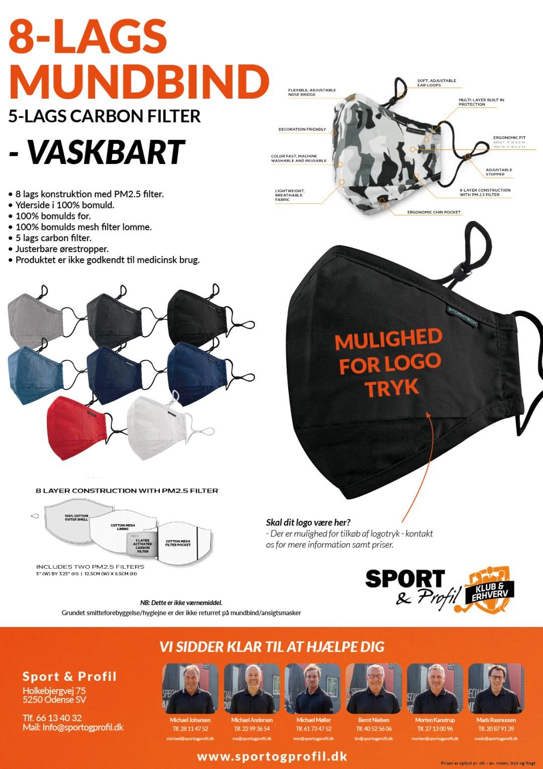 8-lags mundbind der har et 5-lags carbon filter fra Sport & Profil