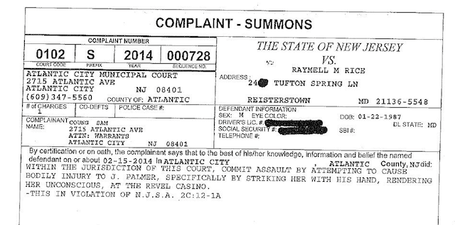 Here is Ray Rice's official court summons. (Twitter/@HellgrenWJZ)