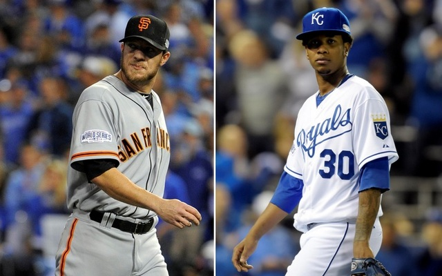 Game 6 will feature a rematch between Jake Peavy (l.) and Yordano Ventura.
