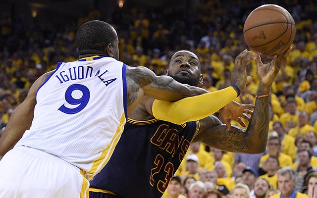 Image result for lebron getting fouled in the Finals